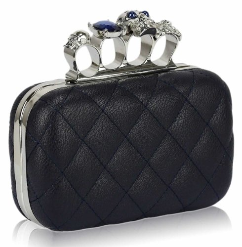 Ladies Navy Blue Padded Skulls Knuckles Rings Clutch Evening Bag KCMODE, Bags Central