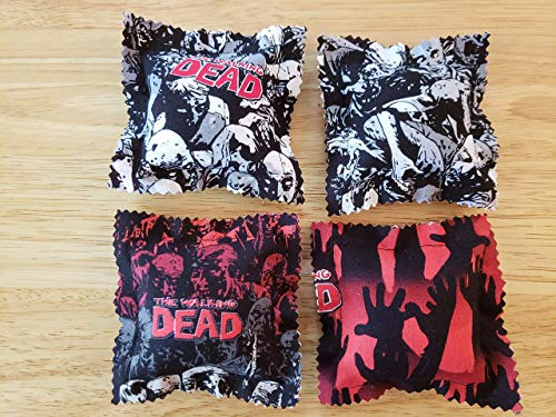 Catnip Ravioli Pillow Toys, Made From The Walking Dead Fabric, Zombies, Cat, Cats, Kittens, Set of 4