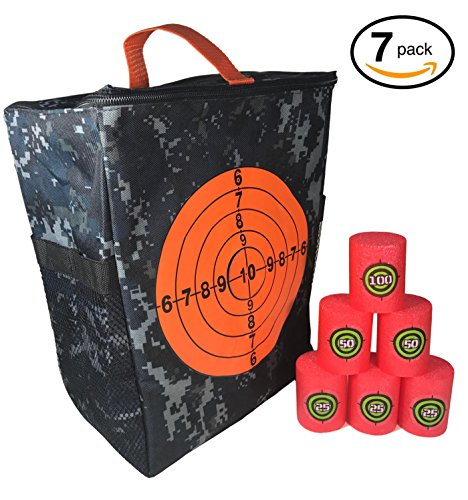 Target Pouch Storage Carry Equipment Bag Accessories Set With 6Pcs Foam Shooting Targets For Nerf N Strike Elite  Mega  And Rival Series Guns By Fury Strike