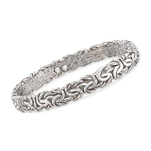 Ross-Simons Italian Sterling Silver Flat Byzantine Bangle Bracelet -