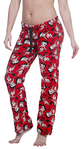 Garfield / Nestle / Wonka / Betty Boop Licensed Women's Warm and Cozy Plush Pajama/Lounge Pants (Small, Red with Hearts) Betty Boop Pajamas