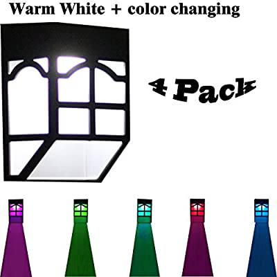 Solar Lights That Change Color, Solar Lights Outdoor Waterproof 4 Pack Color-changing Security Decorative Night Light for Garden, Patio, Deck, Yard, Driveway, Fence, Street (4 Pack)
