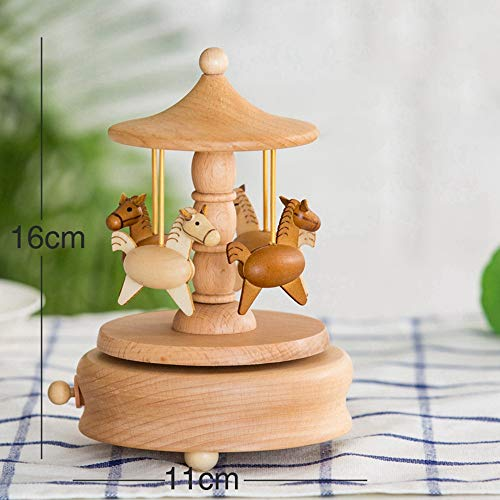 SHANYYH Wooden Music Box Gift Gifts for Kids Musical Carousel Ferris Wheel Boxes Boxs Home Decoration