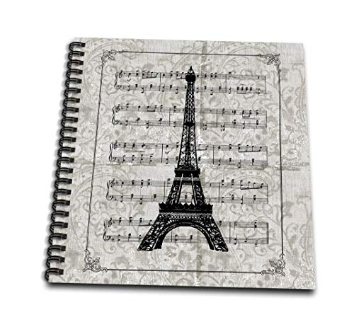 (3dRose db_99335_2 Vintage Song Sheet with Eiffel Tower French Art- Paris-Memory Book, 12 by 12-Inch)