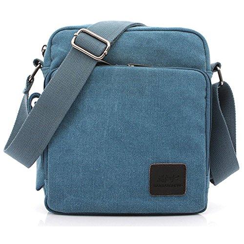 Vintage Bandolera de Libro Bag Tela de Originales Lona Bag Colegio Bolsos Bolsa para Azul Bolsos de Bolso Bolsas Universidad Outreo Viaje Messenger Pequeñas Hombre Sport 5za0wRq