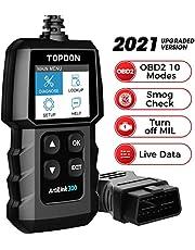 Leitor de códigos OBD2-Scanner TOPDON AL300 com 10 funções OBD2 Verificar a luz do motor digitalização de códigos de leitura/clara, monitor de sensor de prontidão I/M O2 para teste de fumaça, leitura de fluxo de dados/VIN, modo 6 com pesquisa DTC