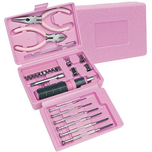 26pc Juego de herramientas color rosa w/caso caja, puntas de ...