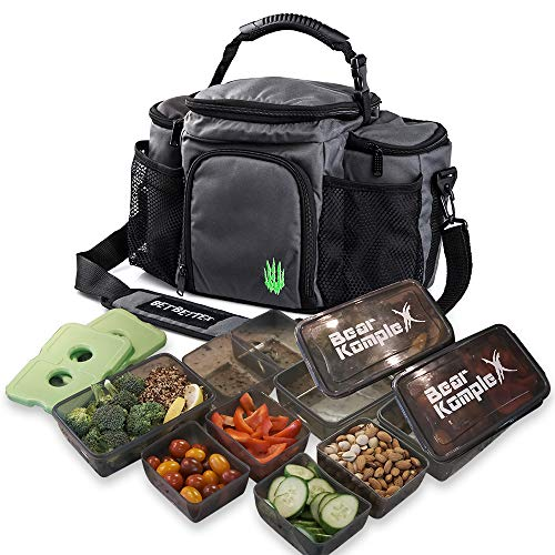 Bear KompleX Insulated Meal Prep Management Lunch Bag, 6 Compartment Lunch Box Cooler Tote with 3 Microwave Dishwasher Safe Portion Control Containers, Reusable Ice Pack, Heavy Duty Strap-14.5 x 8.25