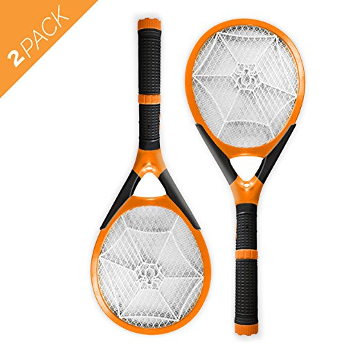 Aspectek l Rechargeable l Electronic Fly Swatter | Killer. Handheld | Fly Zapper | Detachable Flash Light, 2 pack