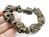 Handmade_Punk_Skull_Beads_Unreligious_Biker_pulseras_étnicas PTK# Bracelet Bead