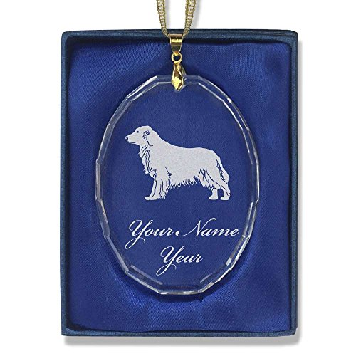 Oval Crystal Christmas Ornament - Golden Retriever Dog - Personalized Engraving (Retriever Glass Ornament)