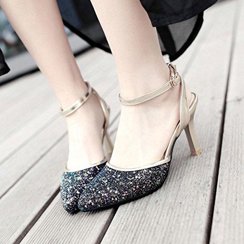 TAOFFEN Mujer Moda Glitter Sandalias Fiesta Tacon Alto Slingback Zapatos De Hebilla Negro