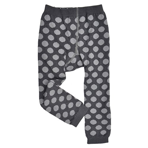 Baby Girl Footless Tights - Polka Dots -Charcoal/Gray- Cute Knit Organic ()