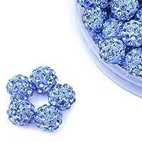 iCherry(TM) 10mm 100pcs/Lot Sky Blue Clay Pave Disco Ball for Rhinestone Crystal Shamballa Beads Charms Jewelry Makings