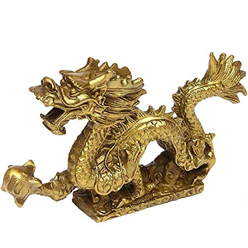"Brass Feng Shui Chinese Royal Dragon Golden Statue 5.7""(L) Home Décor Sculpture Gift Collectible Ornament Figurine PTZY018"