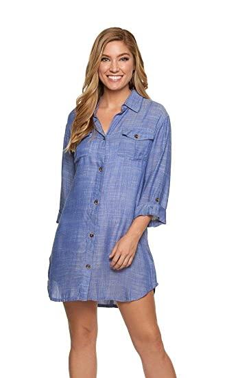 842c413cc6 Dotti Women s Wovens Button Up Shirt Dress Swim Cover Up at Amazon Women s  Clothing store