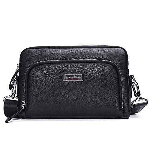 - ZHM Mens Handbag New Look Large-Capacity Leather Clutch Bag Shoulder Messenger Bag Multi-Function Men Bag