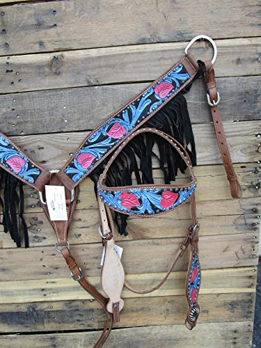 HEADSTALL BREAST COLLAR SET TURQUOISE FLORAL TOOLED PAINTED BLUE PINK BLACK FRINGE SHOW HORSE LEATHER WESTERN BRIDLE