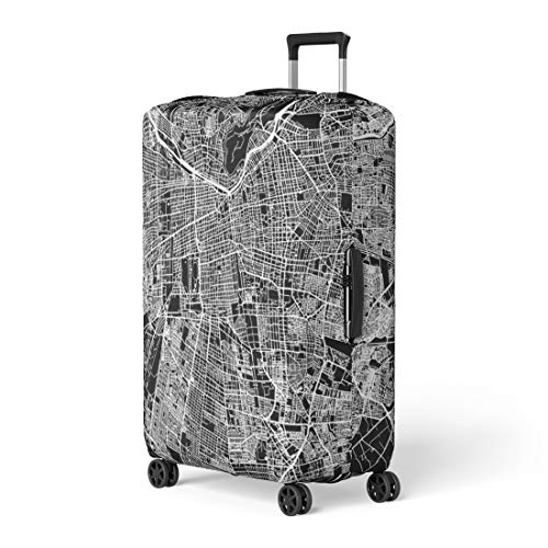 - Pinbeam Luggage Cover Santiago One Color Map Outline Ready for Change Travel Suitcase Cover Protector Baggage Case Fits 26-28 inches