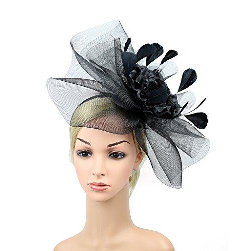 Merya Dress Kentucky Derby Fascinator Hats Feather Prom Cocktail Tea Party Hat Black-AA by Merya Dress (Image #3)