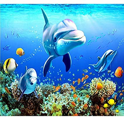 Mkkwp Mundo Submarino Muro De Delfines De Coral Mural Personalizado En 3D Hotel Sala De Estar