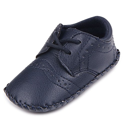 Image of MiYuebb Infant/Toddler Handmade Oxford Shoes Hard Sole Anti Skip Laced Baby Casual Wear (12-18 Months, Dark Blue)