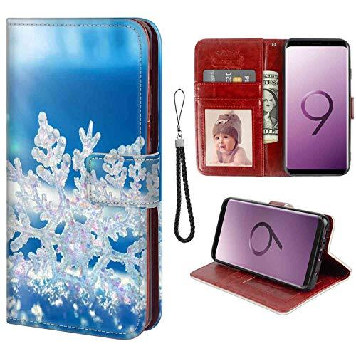 (Wallet Case Compatible Galaxy S9 5.8-Inch Snowflake Fold )