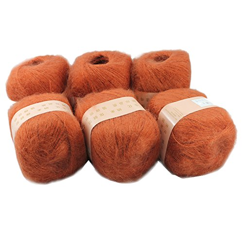 Celine lin 6 Skeins Smooth &Warm Angola Mohair Plush Cashmere Wool Knitting Yarn 300g,Deep orange