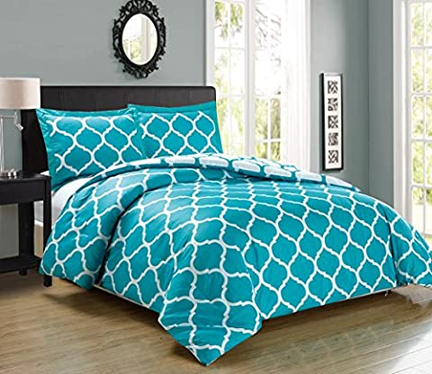 3 piece Luxury TURQUOISE BLUE / WHITE Reversible Quatrefoil Goose Down Alternative Comforter set, King / Cal King Duvet - Blue Reversible Comforter