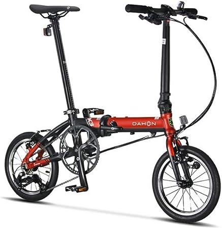 LANSHAN Bicicleta Plegable DAHON 14 Pulgadas 3 Velocidad pequeña Rueda Urban Commuter Versión Hombres Mujeres K3 y Bicicletas KAA433 (Color : Black Red, Size : 14 Inch): Amazon.es: Deportes y aire libre