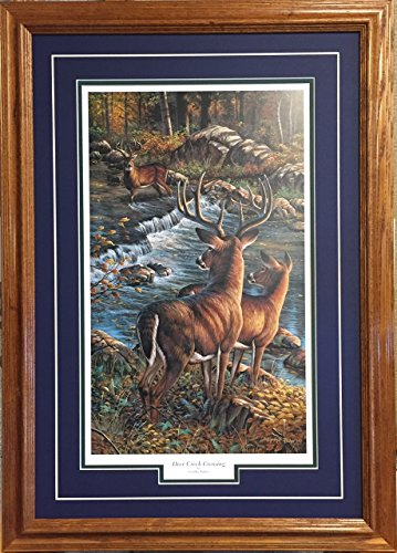 (Cynthie Fisher Framed & Matted Wildlife Art Deer Creek Crossing )