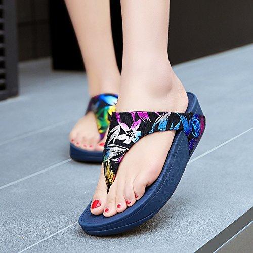Noir Femmes Bluelover Sandales Dames Fashion Pantoufles Coin Beach w047q48x6