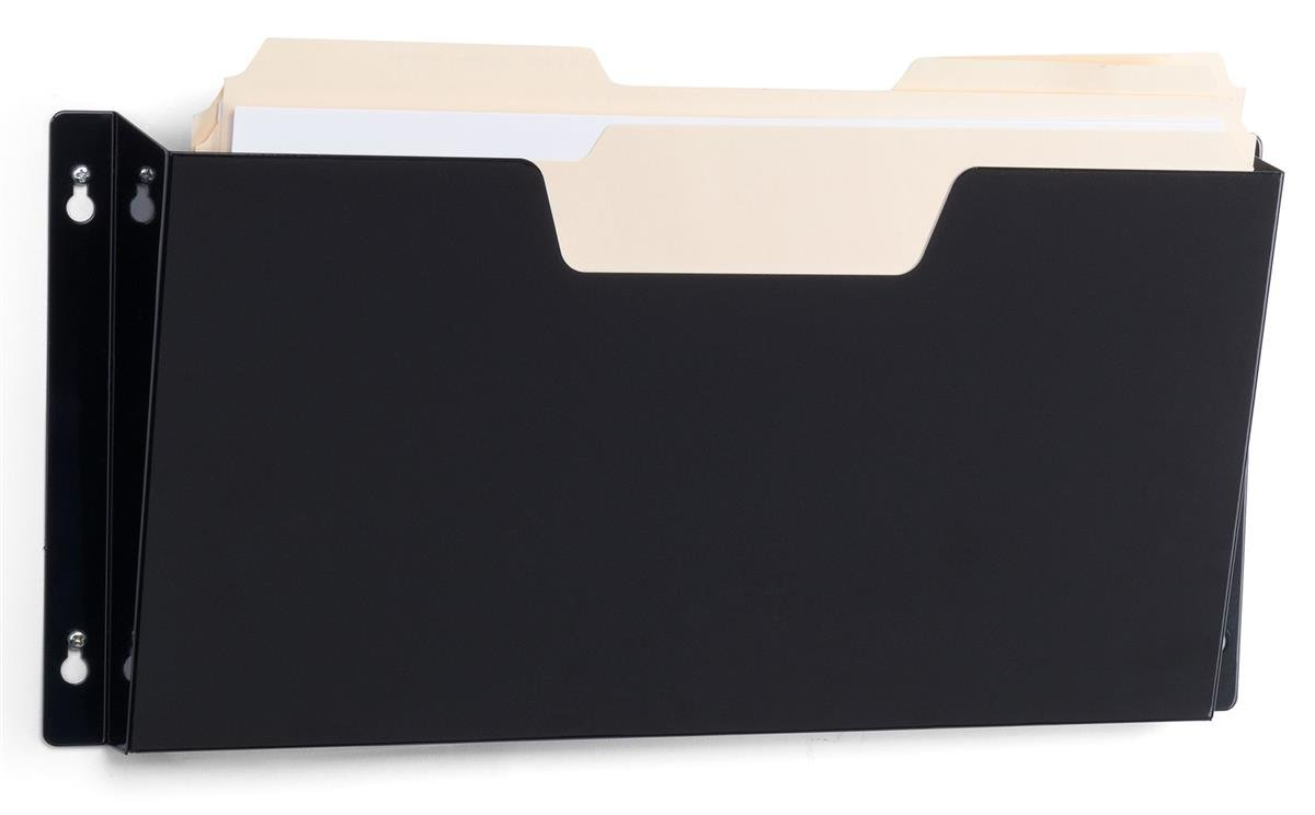 Displays2go Set of 10 - 16 Inch W Legal Size Folder Wall File, Single Pocket, Hardware Included Black Steel (LGP01BLK)
