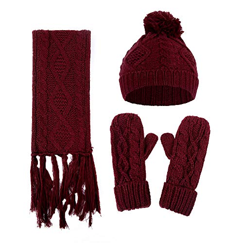 URIBAKE ❤ 3PCS Women's Wool Knitted Beanies Crochet Winter Warmer Knitwear Thick Cable Suit Caps+Scarf+Gloves Set -