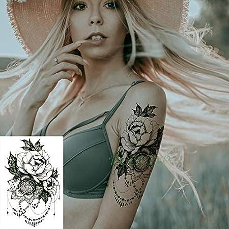 Impermeable Etiqueta Engomada del Tatuaje Temporal Flor Mandala ...