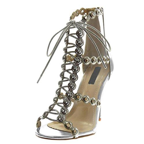 Peep 5 Chaussure Femme Transparent Haut Argent Lacets Stiletto Escarpin Angkorly Cm toe 11 Sandale Perforée Aiguille Talon Mode ZUwqnxdH