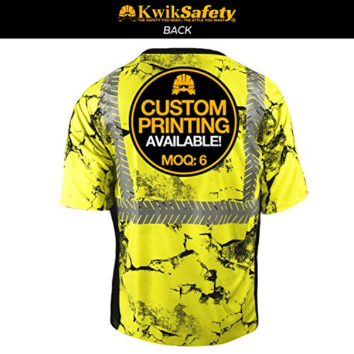 KwikSafety (Charlotte, NC) UNCLE WILLY'S WALL (Chest Pocket) Class 2 ANSI High Visibility Safety Shirt Fishbone Reflective Tape Construction Hi Vis Clothing Men Short Sleeve Camo Yellow Black XX-Large by KwikSafety (Image #2)