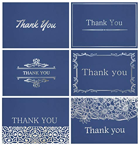 120 Elegant Thank You Cards in Navy Blue with Envelopes and Stickers - Highest Quality 6 Designs Bulk Notes Embossed with Silver Foil Letters for Wedding, Formal, Business, Graduation, Funeral 4x6