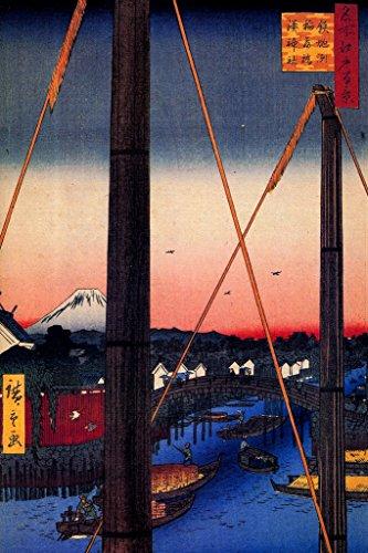 Utagawa Hiroshige Inari Bridge & Minato Shrine Teppozu Art Print Poster 12x18 inch