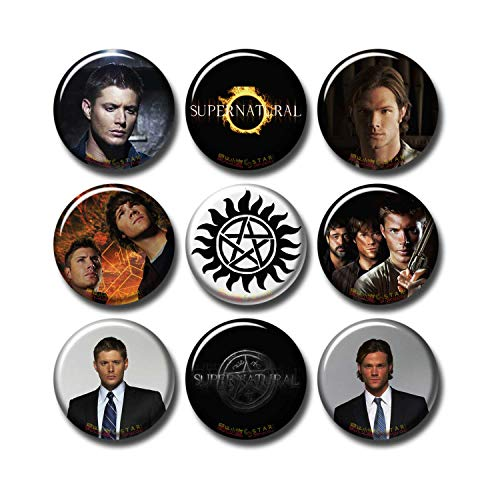 Pentagonwork Supernatural 9 pcs Button Pins Set Pack TV Series 253-P004 Winchester Boys Dean Sam Castiel,Party Favors Supplies Gifts Home Decor (Round 1.5 inch|3.7cm) (Button Sam Winchester)