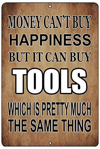 Tina-R Funny Mechanic Metal Tin Sign 8x12 inch Wall Decor Man Cave Bar Money Happiness Tools by TINA-R