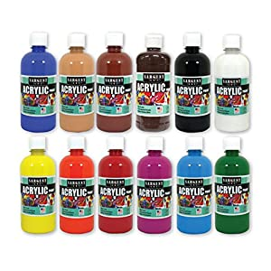 Sargent Art (SARAD) 16oz Acrylic Paint Assortment, 12 Colors, Bottles, Count