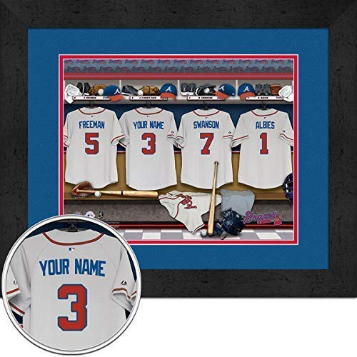 Atlanta Braves Team Locker Room Personalized Jersey Officially Licensed MLB Photo 11 x 14 Print