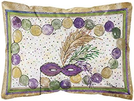 Caroline s Treasures 8059PW1216 Mardi Gras Beads Canvas Fabric Decorative Pillow, 12H x16W, Multicolor