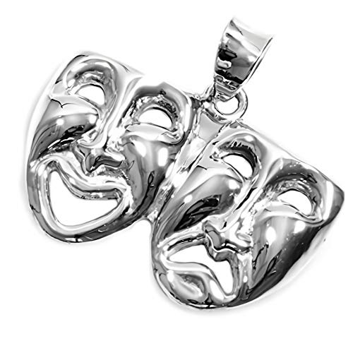 Glitzs Jewels 925 Sterling Silver Pendant for Necklace (Happy and Sad Face) | Cute Gift for Women