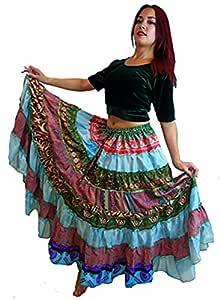 Falda tribal de mezcla de seda para danza del vientre, estilo ...