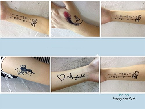 Fashion&Online Flying Swallow Style Body Art Stickers Removable Waterproof Temporary Tattoo ,Pack of 5