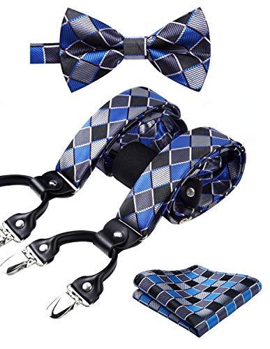 HISDERN Check 6 Clips Suspenders & Bow Tie and Pocket Square Set Y Shape Adjustable Braces Blue