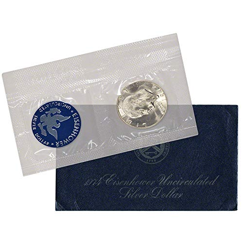 1974 S Blue Eisenhower Silver Dollar $1 Uncirculated US Mint (1974 Silver Dollar Eisenhower)