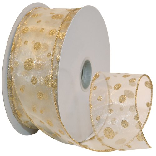 Morex Ribbon Glitter Dots Wired Sheer Glitter Ribbon, 2-1/2-Inch by 50-Yard Spool, Ivory/Gold